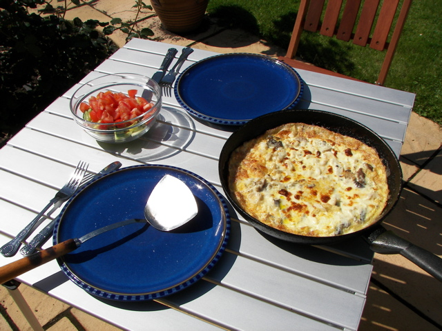 Haddock and cream omelette, with salad, outside on a sunny day. Not very many carbs at all.