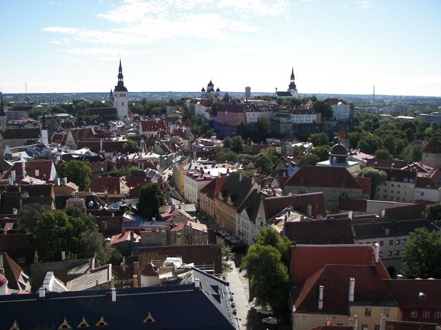Tallinn skyline south from St Olaf&#039;s tower. We climbed the tower, which had a lot of very steep steps, for a view which was totally worth it.