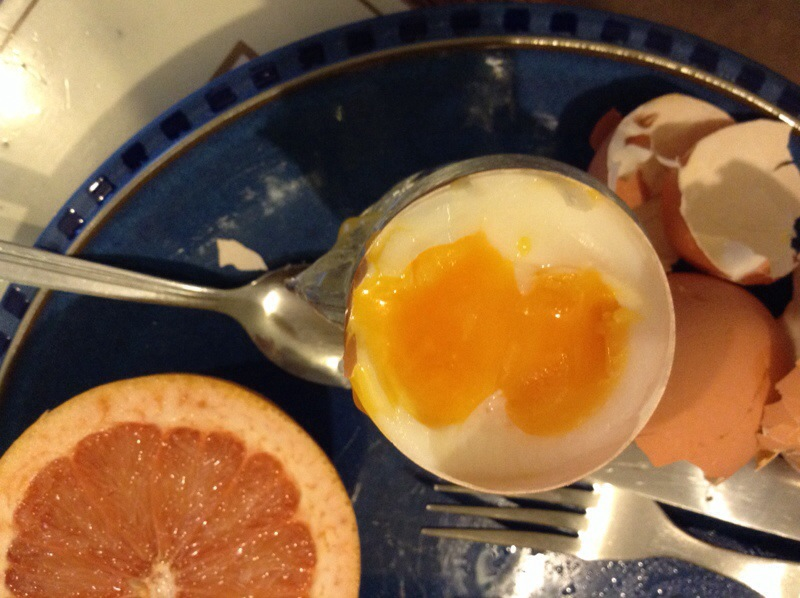 Soft-boiled double-yolked egg