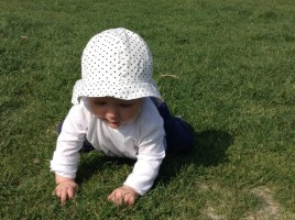 Zoe has just learnt to crawl!