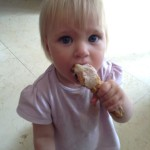 Zoe was particularly hungry on this day, and demolished most of this chicken leg for a snack.